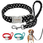 Personalised Dog Collar and Lead set Laser Engraved ID Buckle Heavy Buckle S M L