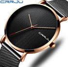 CRRJU NEW Fashion face Quartz Stainless steel Ultra-Thin Band Men's Wrist Watch