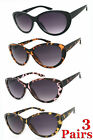 3 Pairs Combo Cat Eye Full Lens Magnified Tinted Sun Readers Reading Sunglasses
