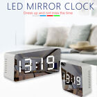 Alarm Clock Large Digital LED Display Portable Modern Battery Operated Mirror US