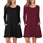 Women's Long Sleeve Pocket Casual Loose T-Shirt Dresses Plain Swing Tunic Dress