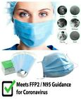 Disposable Face Mask Surgical Pleated Latex Free Dust Protection Coronavirus UK