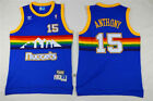 Men's Denver Nuggets #15 Carmelo Anthony Blue Classic Throwbacks Sewn Jersey