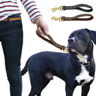 """12"""" Leather Short Dog Lead Leash Close Control Traffic Training for Large Dogs"""