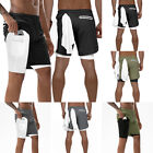 Men's Running Sport Shorts Stretchy with USA 1 in 2 Shorts Liner Pocket Built-in