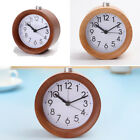 Small Round Classic Wooden Silent Home Bedroom Desk Travel LED Light Alarm Clock