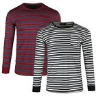 Men's Breathable Knit Jersey Ribbed Crew Neck Contrast Stripe Undershirt T-shirt image