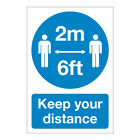 Keep Your Distance Social Distancing 2 Metres 6ft Apart Health And Safety Sign