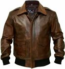 Men A-2 Aviator Flight Bomber Distressed Chocolate Brown Genuine Leather Jacket