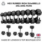 Hex Dumbbells 3kg-30kg Pairs Cast Iron Rubber Encased Home Gym Fixed Weight Set <br/> BRAND NEW | FREE DELIVERY | OUTRIVALS GYM UK