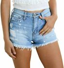 Yyicool Women Juniors Stretchy Denim Shorts High Waisted Frayed Denim Jean Short