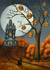 Print of folk art painting A CAT NAMED JACK Halloween haunted house JOL witch DC