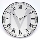 Monogram Farmhouse Wall Hanging Analog Clock with Roman Numerals