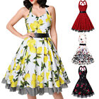 Women Vintage Halter 1950's Rockabilly Pinup Dresses Swing Party Cocktail Dress