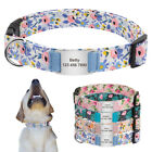 Floral Personalized Pet Dog Collars and Silde On Tag Engraved Small Medium Large