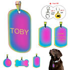 Rainbow Bone/Military/Round Personalized Pet Cat Dog Tags Name ID Engraved Free