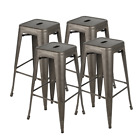 """Set of 4 30"""" Metal Barstools Stackable Patio Bar Kitchen Counter Stools Chairs"""
