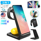 Qi 10W Fast Charge 3 In 1 Wireless Charger Dock For iPhone 11Pro iWatch Samsung