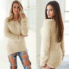 Womens Faux Fluffy Fur Sweater Ladies Winter Warm Pullover Jumper Tops Blouse UK