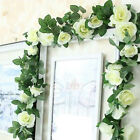 2x8Ft Artificial Faux Flower Silk Rose Leaf Garland Vine Ivy Home Party Decor C7