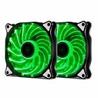 LOT 1/5 120mm 15LED Neon Luminous Silent Computer PC Case Fan Sleeve Bearing