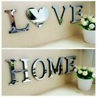 4 Letters Love Home Furniture Mirror Tiles Wall Sticker Self-adhesive Art Decor