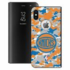 NBA 2018/19 NEW YORK KNICKS BLACK MIRROR FLIP STAND COVER FOR APPLE iPHONE PHONE