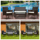 Patio 4 Pcs Wicker Furniture Outdoor Rattan Sofa Table Garden Conversation Set