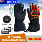 AU Rechargeable Waterproof Touch Screen Motorcycle Electric Heated Gloves щ _