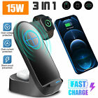 3in1 Qi Wireless Charger Fast Charging Station Dock For Samsung Phone/Watch/Buds