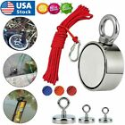 Upto 1300 Lbs Fishing Magnet Kit Pull Force Strong Neodymium & Rope & Carabiner