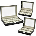8/10/12/20/24 Slots Leather Watch Box Display Glass Top Jewelry Case Organizer