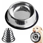 Small Large Stainless Steel Dog Bowl Non Slip Pet Food Water Feeding Bowls Dish