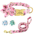 Floral Personalised Dog Collars and Lead Pet Name ID Tag Custom Metal Buckle S-L
