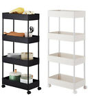4 Tier Storage Cart Kitchen Bathroom Serving Shelving Trolly with Rolling Wheel