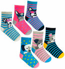 Girls Socks 3 Pairs Kids Ankle Socks Dog Print Pink UK Size 6-8.5 9-12 12-3.5