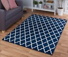 MEDIUM - EXTRA LARGE NAVY DARK BLUE MOROCCAN TRELLIS PATTERNED NON-SHEDDING RUG