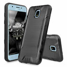 For Samsung Galaxy J7 Star/Crown/V 2018 Case Brushed Hard Cover+Tempered Glass