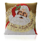 Christmas Festive Winter Xmas I BELIEVE in Santa Tapestry Unfilled CUSHION COVER