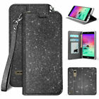 For LG K30 Phone Case Glitter Bling PU Leather Wallet Flip Cover +Tempered Glass