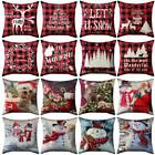 "18"" Us Christmas Xmas Cushion Cover Pillow Case Sofa Home Decor Reindeer Snow Us"