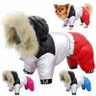 Small Dog Waterproof Winter Coat with Fur Hood Pet Clothes Jumpsuit Jack Russell