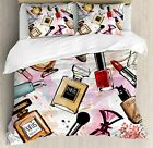 Ambesonne Fashion Duvet Cover Set, Cosmetic and Makeup Theme Pattern with Perfum