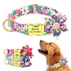 Cute Flower Pet Collar for Girl Dogs Personalized Custom Name ID Buckle Engraved