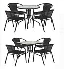 5-piece Outdoor Patio Set Glass Table W/ 4 Rattan Chairs Dining Garden Furniture