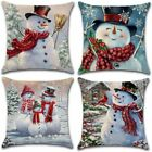 XIECCX Christmas Throw Pillow Covers 18x18 Set of 4 Winter Snowman Home Decorati