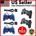 2X Blue Twin Shock Game Controller Joypad Pad for Sony PS2 Playstation 2 Black