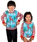 SoCal Look Girls Ugly Christmas Sweater Reindeer Pullover Blue
