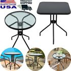 Outdoor Patio Balcony Bar Round/square Table Glass Top Yard Garden Furniture New