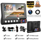 "4"" 1080P Touch Dual Len Front Rear Inside Camera Car DVR Video Dash Cam G-Sensor"